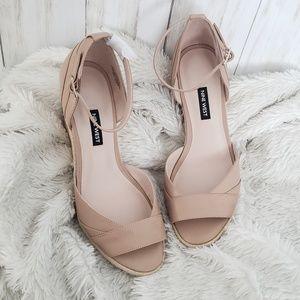 Nine West Beige Leather Espadrille Sandals 8.5m